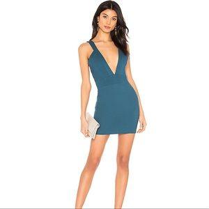 Super down teal bodycon mini Dress